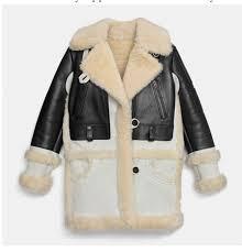 coach womens jacket biker leather shearling sz small