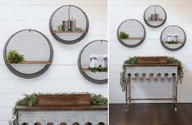 set of shelves shelf set of 3 three galvanized metal silver farmhouse barnyard vintage antique rustic wall art wall decor 3 piece accent mirror