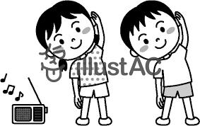 夏の子供ラジオ体操モノクロイラスト No 459392無料イラスト