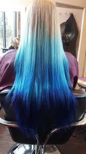 Blue Dip Dye On Light Brown Hair