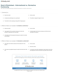 quiz worksheet informational vs normative conformity com print conformity solomon asch s of informational vs normative conformity worksheet