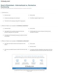 quiz worksheet informational vs normative conformity com print conformity solomon asch s of informational vs normative conformity worksheet