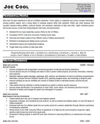 Military Resume Examples And Samples Military Resume Template For