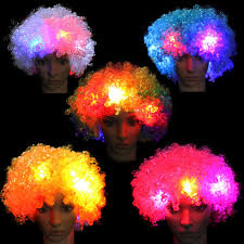 Rave Theme Party Amazing Explosion Of Head Led Light Flashing Curly Hair Wig Fans
