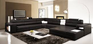 living room furniture sectional sets. Black Sectional Set With 2 Decorative Lights Adjustable Headrests Modern-living-room Living Room Furniture Sets A