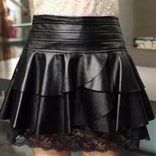 2xl skirts dresses black retro style black ruffles lace spliced pu leather skirt for women 1414160