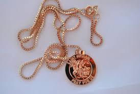 rose gold saint michael necklace