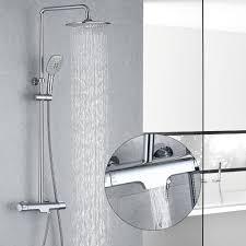 Duschsystem Mit Thermostat Regendusche Duschset Mit Wasserhahn 3 Funktionen Duscharmatur Dusche Duschsäule Inkl Verstellbarer Duschstange