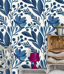 Pin by Polly Benson on wallpaper for bluey | Home wallpaper, Peel and stick  wallpaper, Blue flower wallpaper