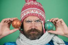 Hipster Happy Smile In Winter Hat And Scarf With Christmas Balls