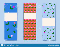 Bookmark Designs To Print A Set Of Bookmarks Simple Cute Tulip Pattern On Blue And