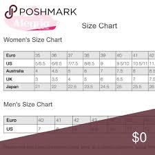 Alegria Size Chart Alegria Size Chart Alegria Size Chart Other My Posh Closet