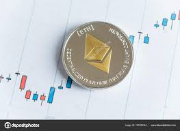 Gold Ethereum Cryptocurrency Coin On Candlestick Trading
