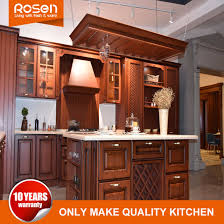 China Red Classical Style Oak Solid Wood Kitchen Cabinets Furniture