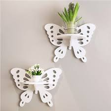 Lovely butterfly hanging wall shelf act the role ofing household decorative  wall shelf zakka home decor