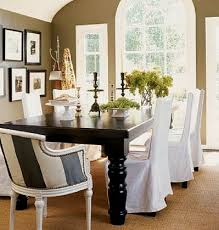 adorable white slip cover for dining room chairs design with long sleeve around black dining table