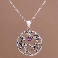 amethyst and sterling silver hummingbird pendant necklace hummingbird tree