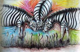 African Zebras Mixed Media by Emmanuel Ogwang