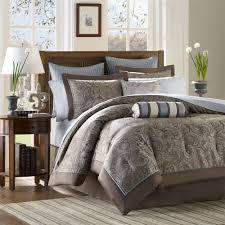 luxury bedroom with cal king blue brown paisley bedding sets 2 piece euro shams