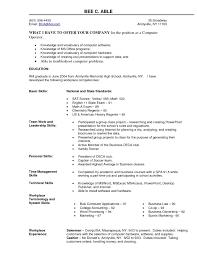 Resume Format Computer Operator It Resume Cover Letter Sample