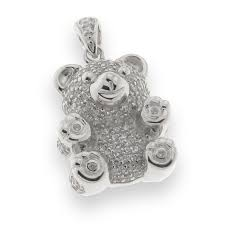 charm pendant in 925 sterling silver teddy bear with microsetting of cubic zirconia women anniversary gift