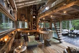 Warm Wooden Cabin Interior Idea