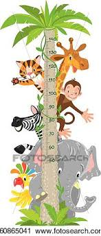 Giraffe Monkey Tiger Meter Wall Or Height Chart Clipart