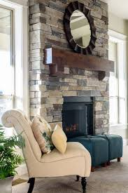 Echo Ridge Country Ledgestone on this floor to ceiling stone fireplace with  a beautifully stained mantle