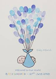 Nothing Mundane  Baby Shower Fingerprint Balloon GuestbookFingerprint Baby Shower Tree