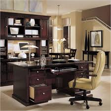 home office decor brown. Office, Nice Home Office Design Ideas Cream Wall Paint Dark Brown Desk Swivelchair Ceramic Decor