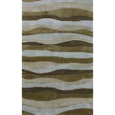American Contemporary Furniture Caramel And Hillside Brown Striped Hand Tufted Contemporary Wool