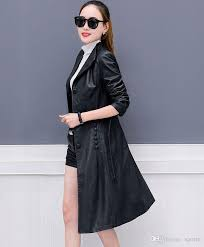 women faux leather jacket suede trench coats long duster coat f0220 fashion black pu leather overcoat