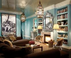 blue walls brown furniture. Amazing Moroccan Room Design Blue Wall Unique Chandeliers Brown Sofa Walls Furniture V