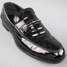 men s gucci loafers size 10 5 black patent leather horsebit dress shoes in good condition for