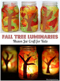 tissue paper fall mason jar luminary