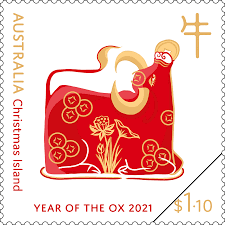 Happy new year 2021 realistic red with white christmas balls. Christmas Island Year Of The Ox 2021 Australia Post