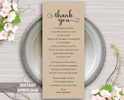 Wedding Thank You Notes Templates Printable Thank You Place Card Wedding Thank You Card