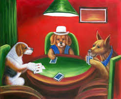 dogs playing cards classic american art repro oil on canvas painting