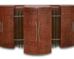 Quilted sapele   Etsy & Modern Media Cabinet, TV Lift, Entertainment Center, Art Deco Style,