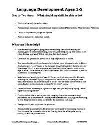 Asha Language Development Chart Asha Developmental Milestones Ages 1 5