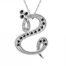 black lovely diamond jewelry carat alphabet initial letter s black diamond pendant necklace in k
