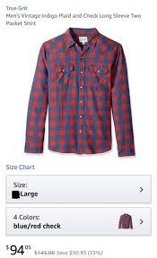 True Grit Size Chart True Grit Mens Vintage Long Sleeve Two Pocket Shirt Blue