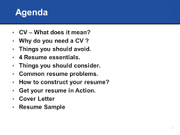 Agenda CV  What does it mean Why do you need a CV