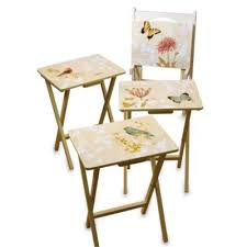 Decorative Tv Tray Tables Winsome Walnut 100 Piece Curved Rectangular TV Tray Set Hayneedle 97