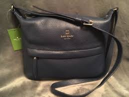 kate spade starla grant park cross leather purse french navy blue