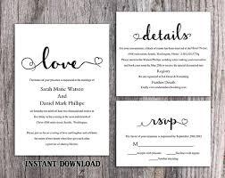 diy wedding invitation template. diy wedding invitation template set editable word file download printable black \u0026 white elegant heart diy t