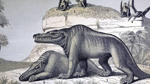 Dinosaures de crystal palace (fr); Life Sized Crystal Palace Park Dinosaur Sculpture Damaged Bbc News