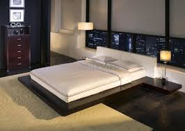 Two-Tone Modern Platform Bed With Built-In Side Tables