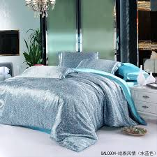 to aqua blue paisley mulberry silk bedding set for king