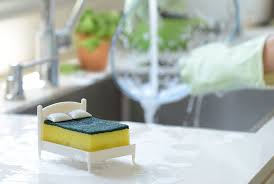 once the dishes are clean and bright lay your sponge in its bed and let it sleep tight